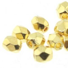 Fire Polish 3mm 24k Gold Plate 50 Bd/st 6 St/bg