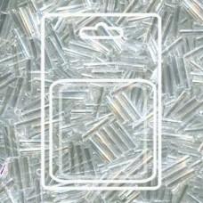 Slender Bugle 1.3x6mm Crystal Lstr -apx 13gm/card (160)