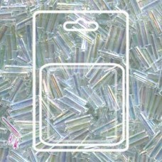 Slender Bugle 1.3x6mm Clear Trans Rainbow -apx 13gm/card (250)