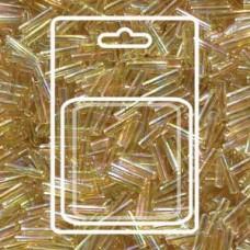 Slender Bugle 1.3x6mm Light Gold Crystal Ab-apx 13gm/card (251)