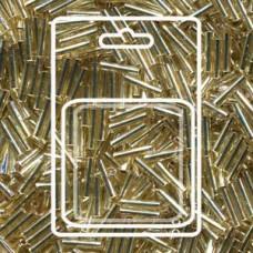 Slender Bugle 1.3x6mm S/l Gold -apx 13gm/card (3)