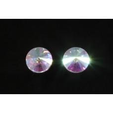 Хрустальная полу риволи 14мм Crystal AB 12шт