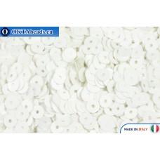Итальянские плоские пайетки 4мм Bianco Satinati (176W)