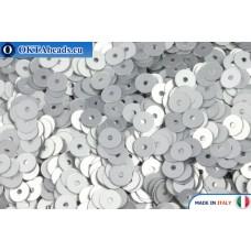 Итальянские плоские пайетки 4мм Argento Satinati (916W)