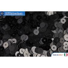 Итальянские плоские пайетки 4мм Nero Metal (9919)