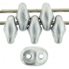 DG-7 SuperDuo бусины 5х2мм Matte - Metallic Silver (K0170) - 100гр