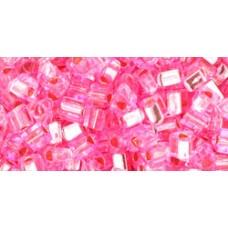 Треугольный ТОХО 8/0 Silver-Lined Pink (38) - 250гр