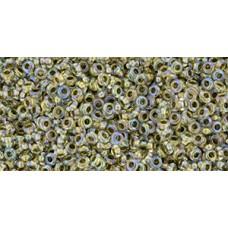 Бисер Деми Раунд ТОХО 11/0 Inside-Color Crystal/Gold-Lined (262) - 100гр
