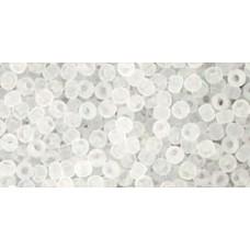 Круглый бисер ТОХО 11/0 Transparent-Frosted Crystal (1F) - 250гр