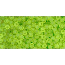 Круглый бисер ТОХО 11/0 Transparent-Frosted Lime Green (4F) - 250гр