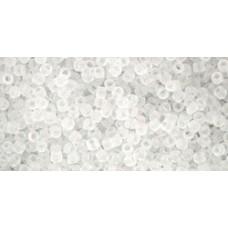 Круглый бисер ТОХО 15/0 Transparent-Frosted Crystal (1F) - 100гр