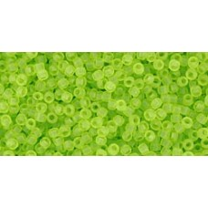 Круглый бисер ТОХО 15/0 Transparent-Frosted Lime Green (4F) - 100гр