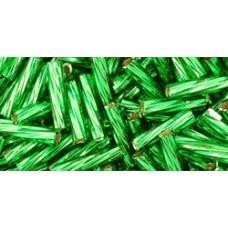 Японский крученый стеклярус TOHO Beads 9мм Silver-Lined Grass Green (27B)